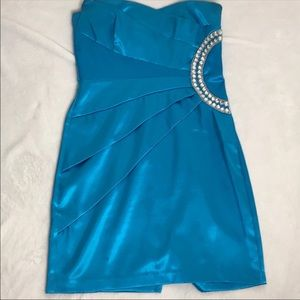 Teeze Me Blue Strapless Dress Size 7 Juniors